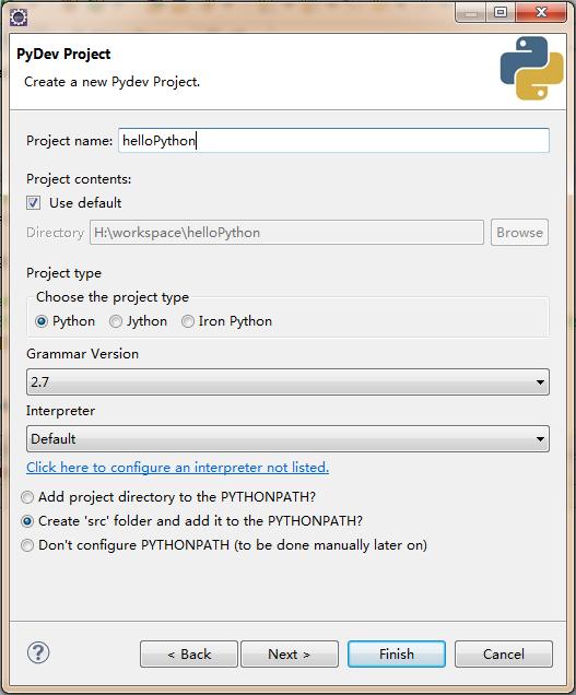 pydev project创建
